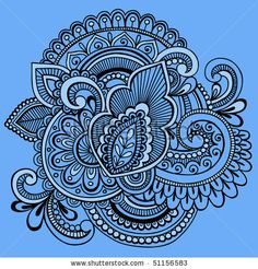 Hand-Drawn Intricate Mehndi Henna Tattoo Paisley Doodle- Vector Illustration on Blue Background by blue67design, via ShutterStock