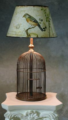 Old Vintage Wire Bird Cage...re-purposed into a unique table lamp!! Love the shade!