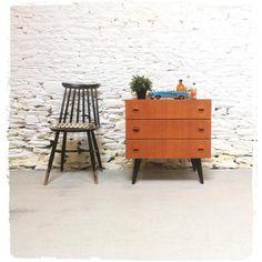 Nightstand, Decoration, Table, Furniture, Home Decor, Vintage Chest Of Drawers, Teak, Arredamento, Decor