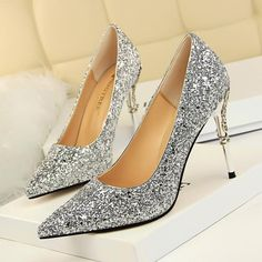 Women Pumps Bling High Heels Women Pumps Glitter High Heel Shoes Woman Sexy Wedding  Shoes Gold Silver Black 0a10e87d57f4