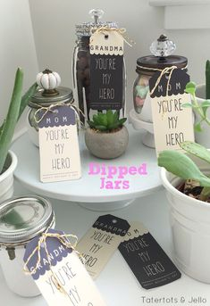 DIY dipped jar tutorial for Mothers Day from MichaelsMakers Tatertots and Jello