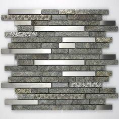Mosaique carrelage pierre et inox 1 plaque RADUS (credence)
