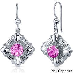 Oravo Sterling Silver Round-cut Gemstone Dangle Earrings (Pink Sapphire), Women's, Size: Small