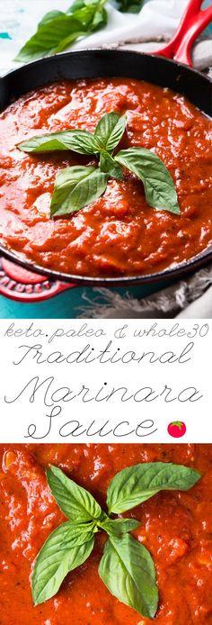 Paleo, Whole30 & Keto Marinara Sauce 🍅 #ketomarinara #marinarasauce #whole30 Pasta Sauce Keto, Keto Pizza Sauce, Paleo Pasta, Pasta Sauce Recipes, Whole 30 Tomato Sauce, Recipes Dinner, Keto Recipes, Keto Foods, Ketogenic Recipes