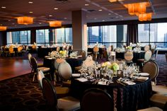 Venue! Holiday Inn Merchandise Mart - linens will be ivory damask and def wanting to swap out the chair with gold chivari chairs