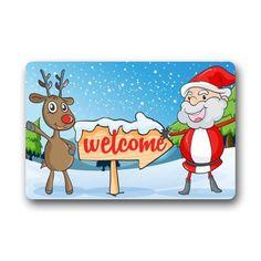 Christmas Doormats Xmas Decorations Welcome Santa And Reindeer Personalized  Custom Doormats Durable Machinewashable Indooroutdoor Door Mat