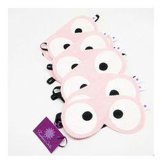 máscara para soneca infantil - olhos divertidos - feltro rosa