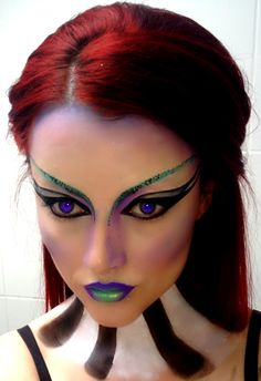 Futuristic look on myself, blocked eyebrows and neck painting <3