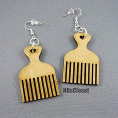 Afro pick earrings by NBsCloset on Etsy, $6.00