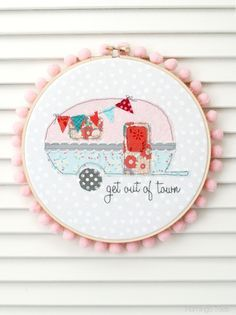 Retro Camper Embroidery Hoop Art -Flamingo Toes