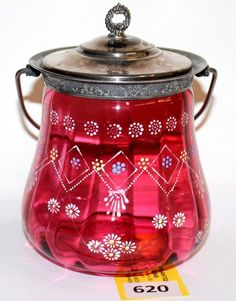 VICTORIAN CRANBERRY GLASS BISCUIT JAR WITH ENAMEL DECORATION -