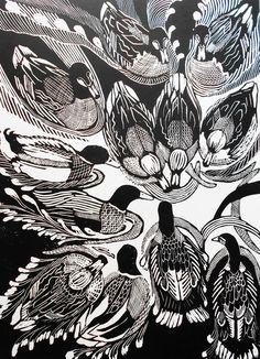 Feeding time for ducks! - linocut 2014 - Helen Maxfield U.K.