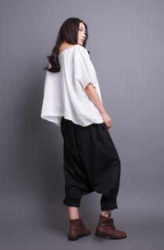 Black Summer Loose Pant Low-crotch Wide Leg Pants by Linen Pants Women, Pants For Women, Loose Pants, Wide Leg Pants, What To Wear Today, How To Wear, Low Crotch Pants, Drop Crotch, Japanese Fashion