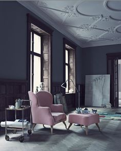 dark walls and moldings