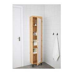 IKEA - SILVERÅN, High cabinet with mirror door, light brown, , You can mount the door to open from the right or left.Perfect where space is limited since the cabinet is shallow.Adjustable feet for increased stability and protection against floor moisture. Bathroom Cabinets Ikea, Mirror Cabinets, Bathroom Shelves, At Home Furniture Store, Modern Home Furniture, Ikea Lillangen, Ceiling Materials, Mirror Door, Bath