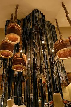 I saw lamps like this at anthropologie in Roseville, and I have been looking for a picture ever since. They're yarn and cardboard, and I think they'd be easy to make.