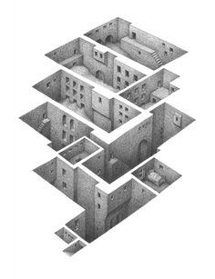 L'artiste canadien Mathew Borrett dessine au crayon des successions de pièces imbriquées vues en coupe sur fond blanc.