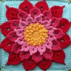 Crochet Crocodile Stitch Flower Square