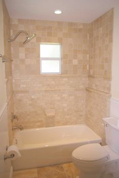 Bathroom Tiling Ideas For Small Bathrooms small bathroom with alcove bathtub shower combo and limestone wall