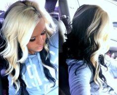 black and blonde hair Love Hair, Great Hair, Gorgeous Hair, Beautiful, Gorgeous Blonde, Hair Color And Cut, Hair Color Dark, Dark Hair, Black And Blonde