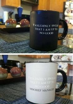 """I solemnly swear that I am up to no good"" mug changes to ""mischief managed"" mug when heated! Harry potter nerd right here're Harry Potter Mugs, Harry Potter Love, Mischief Managed Mug, Must Be A Weasley, Just In Case, Just For You, Take My Money, All I Ever Wanted, Geek Out"