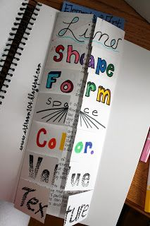 Art Room 104: Studio Art: The Elements of Art.  I love this idea of opening your notes.  It's a creative, engaging way to take notes.