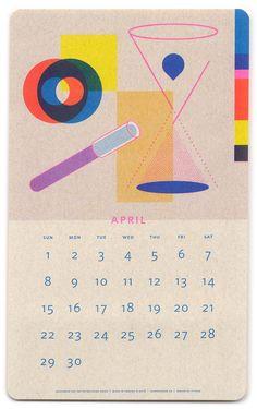 Paper Pusher Isometric Risograph Calendar - April