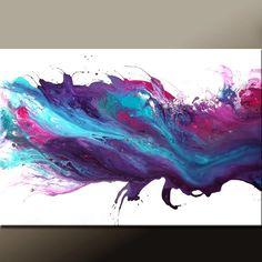 Abstracto arte lienzo 24 x 36 Original púrpura y azul por wostudios