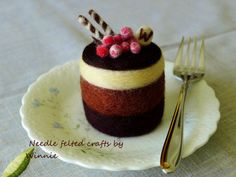 Needle felted cake Chocolate layer cake with by FunFeltByWinnie, $38.00