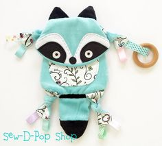 Woodland Raccoon Baby Blanket Toy Pacifier Clip by SewDPopShop
