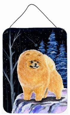 Starry Night Pomeranian Aluminium Metal Wall or Door Hanging Prints