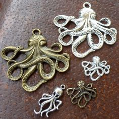 Octopus  antique pendant charm necklace