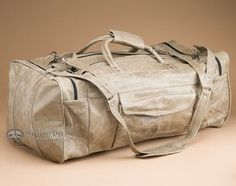 "Handcrafted Leather Travel Bag 22"""" -Distressed Beige (db16)"