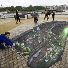 TMNT 3D street art <-- still can't get over how awesome this is!