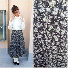 1970 Vintage Skirt/ Emo Garden Skirt/ Medium Skirt/ Floral Skirt/ Long Skirt/ Ankle Skirt/ Black Skirt/ Sunday Skirt/ Hippie Skirt/ Demure by HEIRESSxVintage on Etsy
