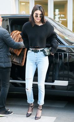 67c94c44a0f9 A Definitive A-List Guide to 2017 s Must-Have Celebrity Jeans. Kendall  Jenner stepped out in Paris wearing a vintage Chanel fanny pack.