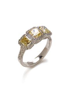 White & Fancy Yellow Diamond 3-Stone Ring by Piranesi