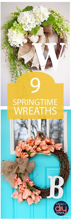 Here are a few of my favorite spring wreath ideas. They are simple enough to pull together in an afternoon, and will light up your front door!