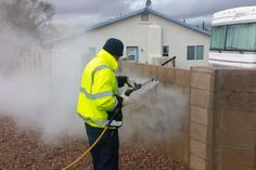 Hot Pressure Washer helps Tucson Arizona Public Works in Graffiti Removal.  The hot water pressure washer is being used in place of sand blasting, rollers and paint that were previously the process used by the public works department of Tucson Arizona to cover up the graffiti.  Read more on our blog here: http://taginator.com/wordpress/2014/04/09/hot-pressure-washer-helps-tucson-arizona-public-works-graffiti-removal/  Photo from: Tucson News Now