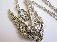 Crystal Heart  Swarovski Necklace  Filigree by DaedraJewelry