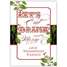 Elegant Holly Band Holiday Invitations