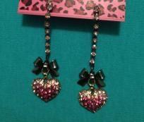 Betsey Johnson hanging rhinestone heart earrings