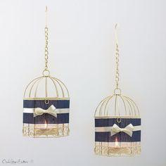 Hanukkah Menorah Navy Bird Cages Metal by OpenVintageShutters