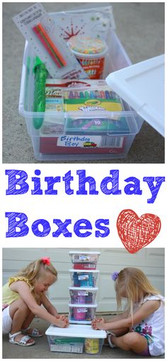 Create these birthday boxes for the less fortunate as part of your child's birthday celebration-- a great way to get them to think about others as well!