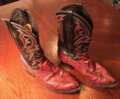 Dan Post Men's Genuine Snakeskin Western Cowboy Boots 11D Black Red White   eBay