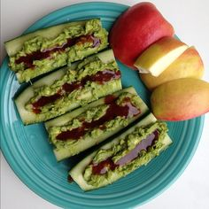 Guacamole and Barbecue Filled Cucumber Boats #rawfood #vegan
