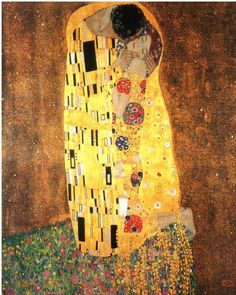 """Gustav Klimt's erotic masterpiece, The Kiss, depicts a couple, who together reportedly form the shape of a penis, in a locked embrace. Rumored to be Klimt and his red-haired lover, Emilie Flöge, the """"golden period"""" painting is one of the artist's most beloved and iconic images."""