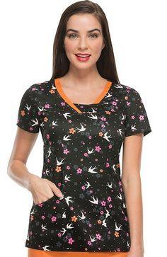 heartsoul Women's Split V-Neck Bird Print Scrub Top Scrubs Uniform, Young At Heart, Scrub Tops, Bird Prints, Floral Tops, Plus Size, V Neck, Detail, Blouse