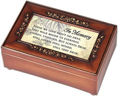 In Memory Bereavement Cottage Garden Rich Walnut Finish with Brushed Gold Rose Trim Petite Jewelry Music Box - Plays Song…
