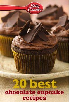 Bargain e-Cookbook: Betty Crocker 20 Best Chocolate Cupcake Recipes 99 cents!  #cupcake #recipes